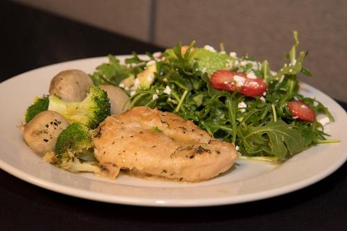 Participants divide into 3-4 person teams, and each team cooks a different protein and side dishes for the protein. Chicken is one protein choice.